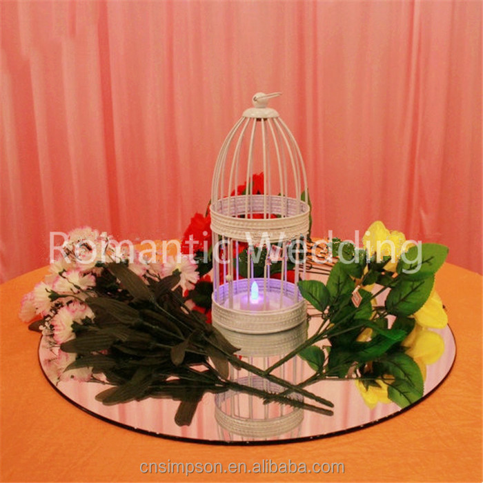 Popular! High Quality White Metal Bird Cages Decorative Candle Lantern Holder for wedding decoration