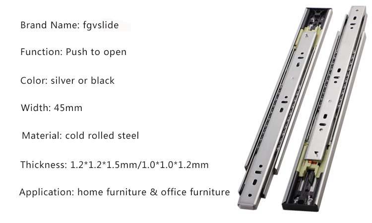45mm width push open drawer hardware slides