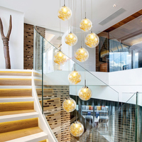 Linear stairwell long decoration lamparas colgant round ball blown chandelier clear glass modern pendant lights for high ceiling