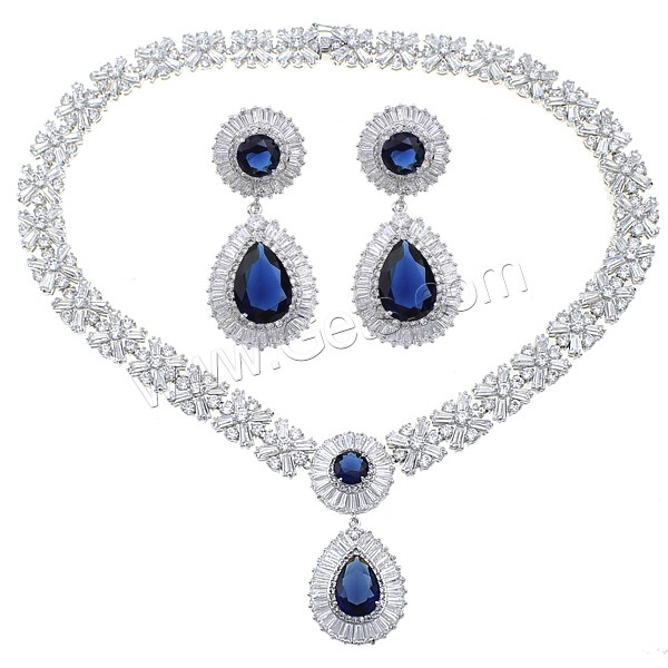 platinum plated Cubic Zirconia Micro Pave Brass Jewelry Sets, earring & necklace, Teardrop, micro pave cubic zirconia & faceted
