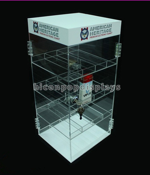 Factory Price Handmade Retail Store 4-Layer Tabletop Acrylic Cigarette Display Case With Lock