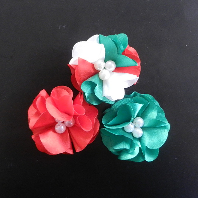 "2"" mini satin flower with pearls,decorative christmas for craft kids"