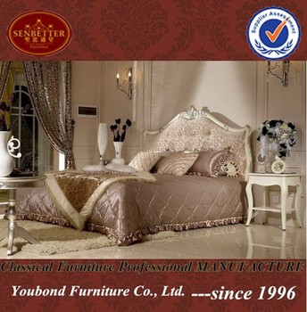 YB09 French Romantic Style Whtie Bedroom Set Furniture For Girl Design  Wooden Hand Carving Bedroom Set