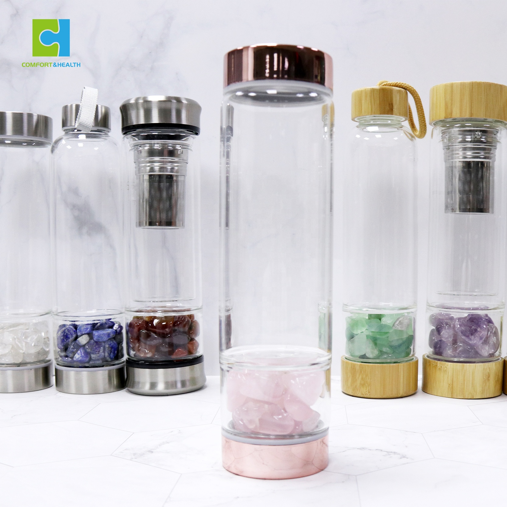 Crystal Water Glass BPA-Free Bottle with Rose and Amethyst Quartz Healing Gem Stones Infuser and Eco-Friendly Healthy Bamboo with Free Sleeve Hangzhou comfort and health homeware limited