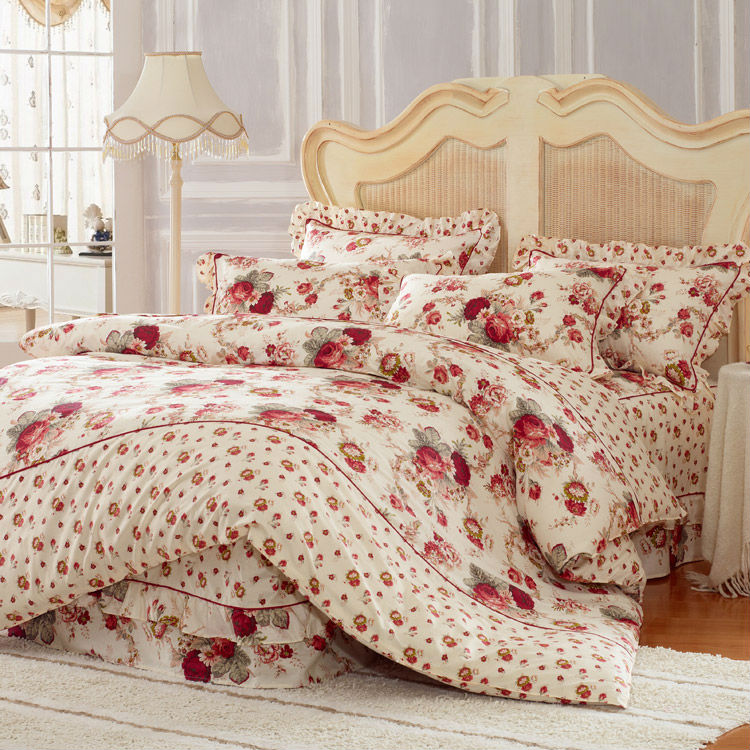 100 cotton bedding sets 4pcs bed cover set with skirt duvet cover bed sheet cover and lotus. Black Bedroom Furniture Sets. Home Design Ideas