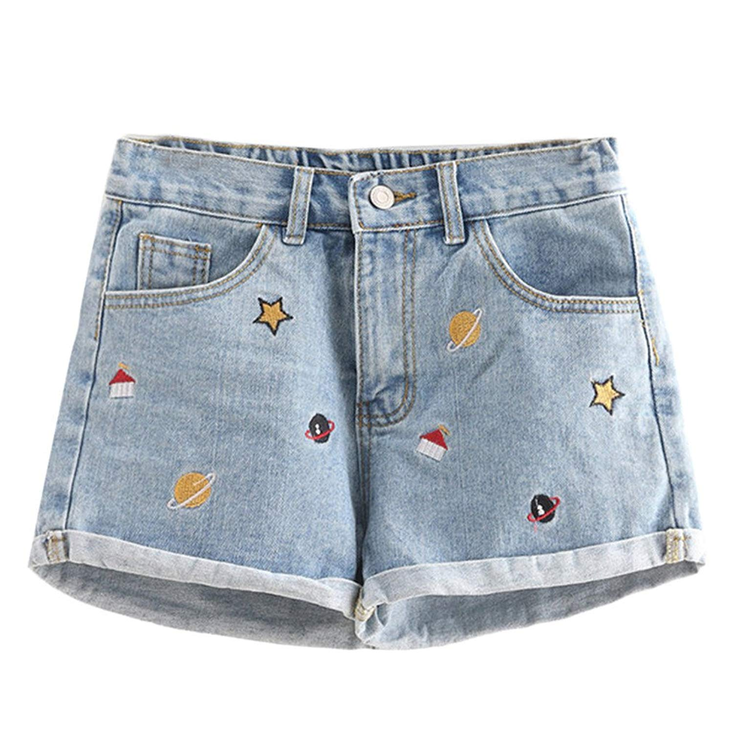 4c10d3f946 Get Quotations · Summer Shorts Mini Denim Shorts Vintage Beach Wear  Embroidered Denim Shorts