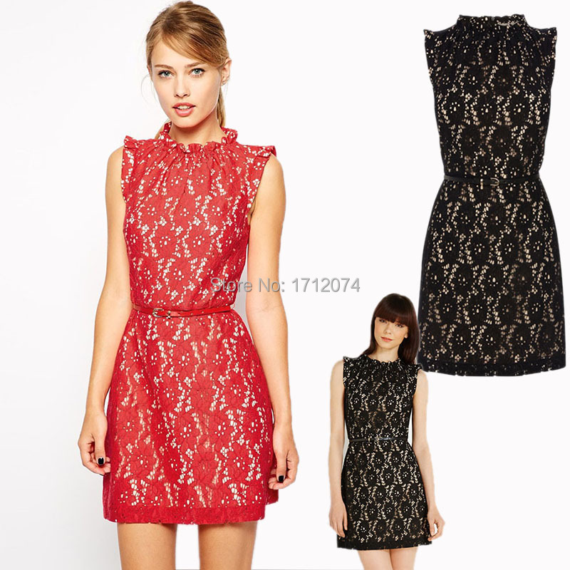 2130f5daa9 Get Quotations · Sexy sleeveless Black High Neck Lace Skater with Belt  Pleated new arrival 2015 bodycon dresses red