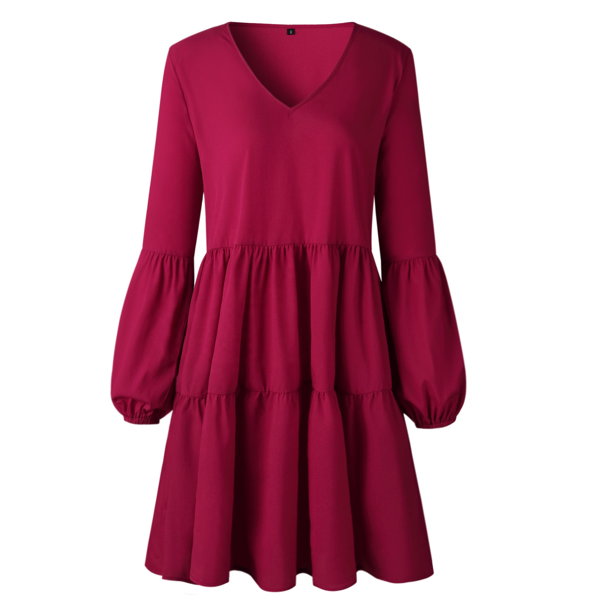Women's Long Sleeve Tunic Dress <strong>V</strong> Neck Loose Swing Shift Dresses