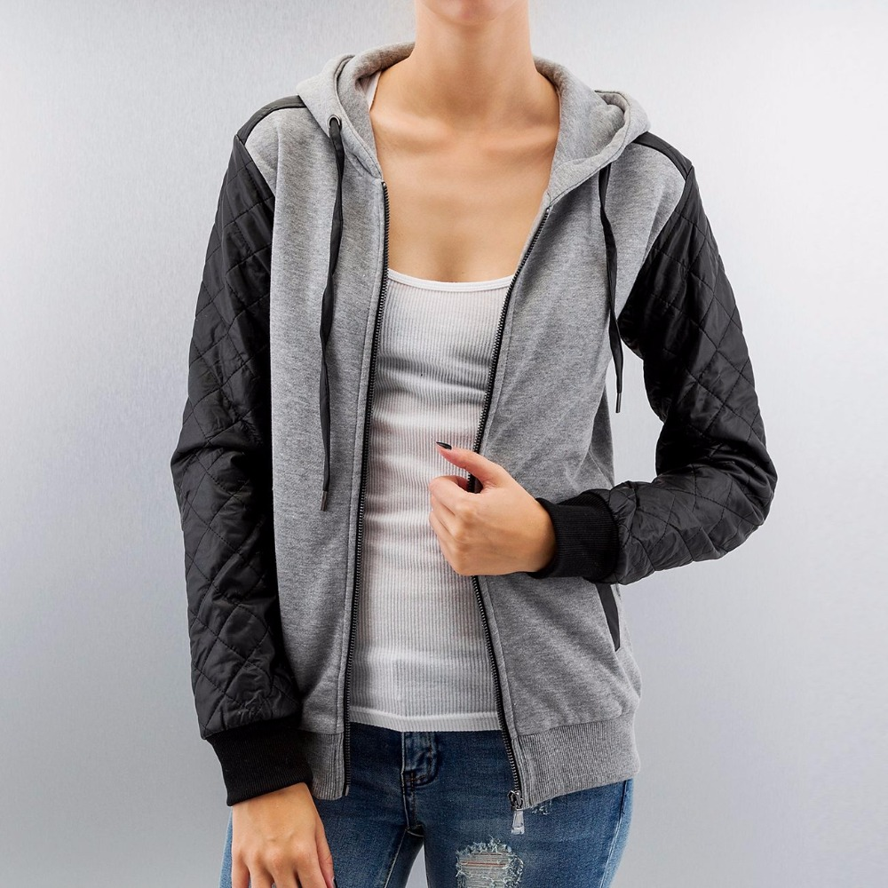 Women Two Color Paneled Sleeve Jersey Zip Up Hoodies Wholesale Price