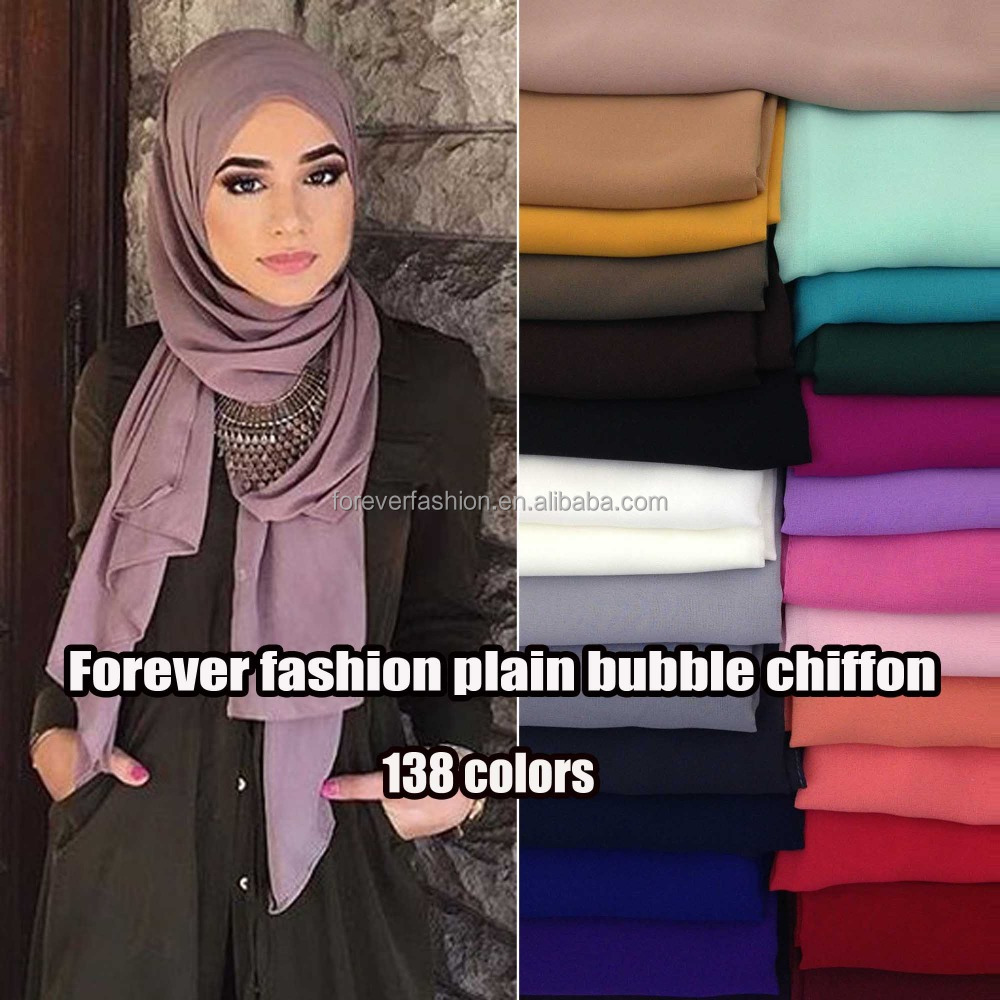 Friendly environmental heavy bubble Premium chiffon scarf summer plain muslim hijab big bubble thick shawls solid scarves