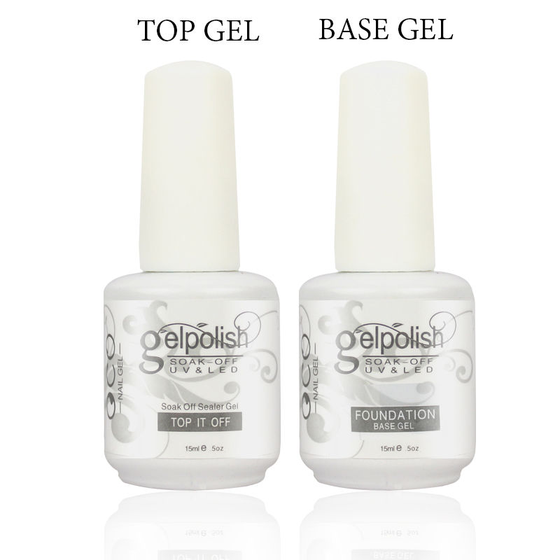 1lot 2pcs15ml Base Coat Top Gel Nail Gel Polish For Nail Art Soak Off