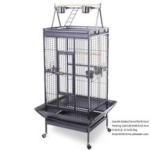 New Black Bird Cage Large Play Top Parrot Finch Cage