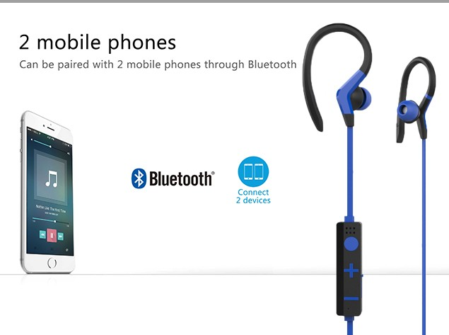 Sweat-proof wireless sports bluetooth running headphones for mobole phones