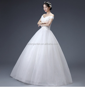 Wedding dress bride 2019 New style Off Shoulder lace bubble Fantasy wedding dress