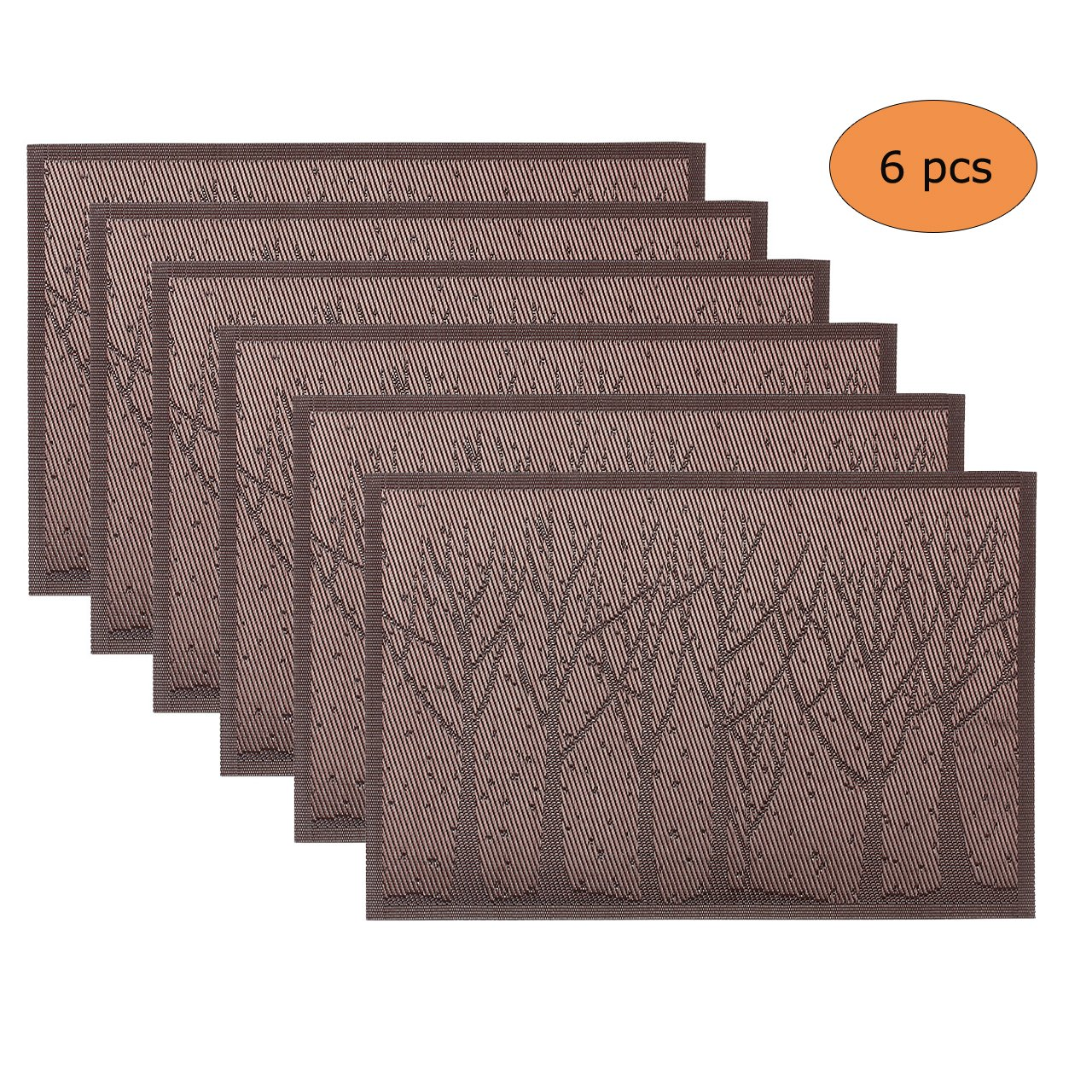 WarmHut Placemats, Fall Tree Woven Vinyl PVC Place Mats for Dining Table Heat Insulation Stain Resistant Table Mat Protector Anti-skidding, Set of 6 Pcs