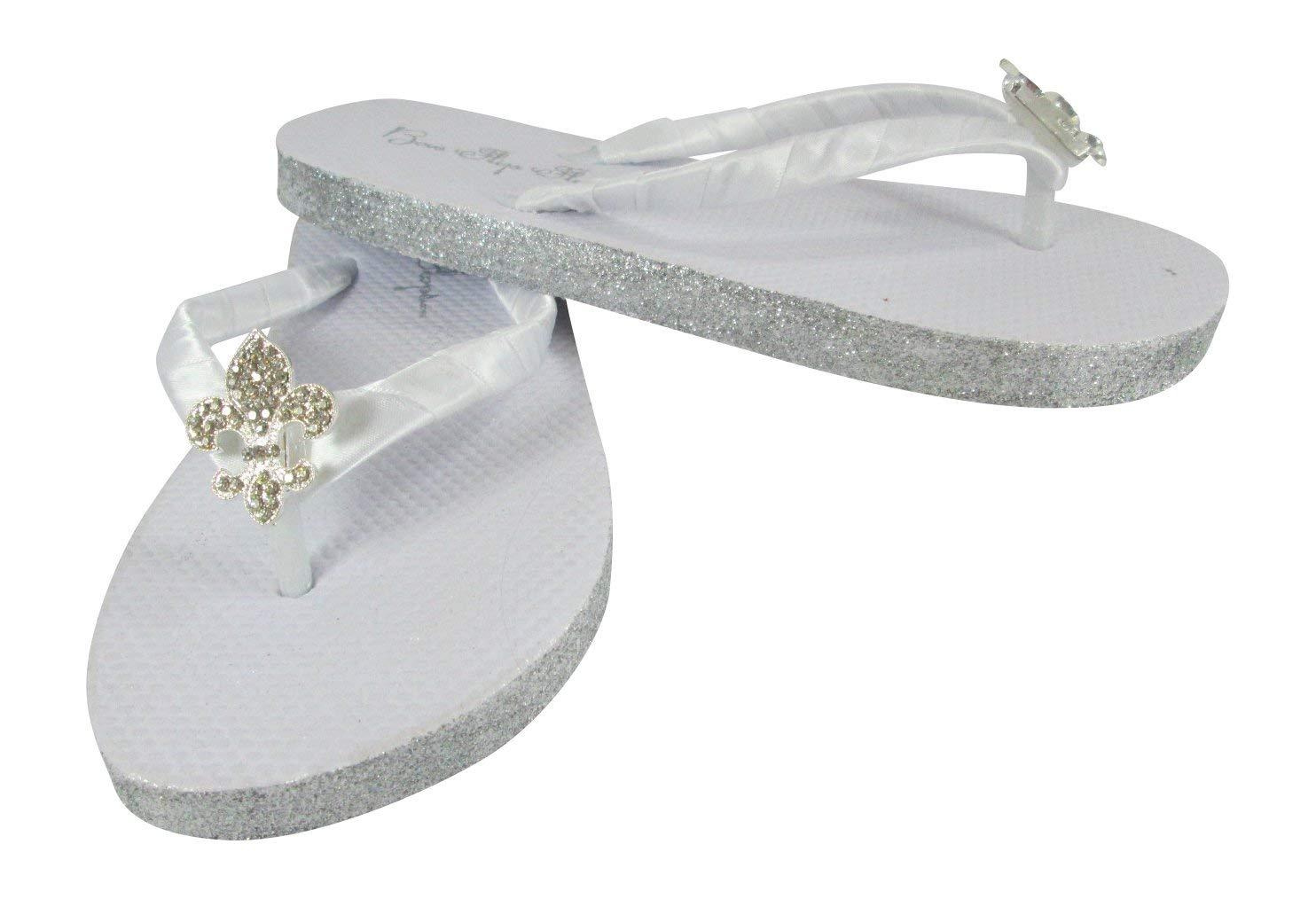 691b9bbc89eb Get Quotations · Fleur de Lis Rhinestone Centerpiece Flat Glitter White Flip  Flops Silver Gold Champagne Rose Gold