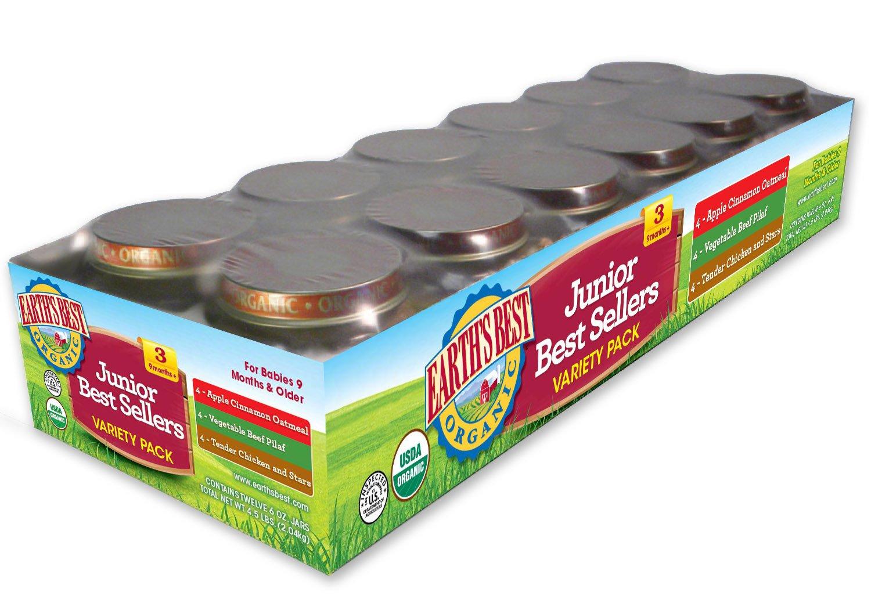 Earth's Best Organic Stage 3 Baby Food, Junior Best Sellers Variety Pack (Apple, Cinnamon & Oatmeal; Vegetable & Pilaf; Tender Chicken & Stars), 12 Count