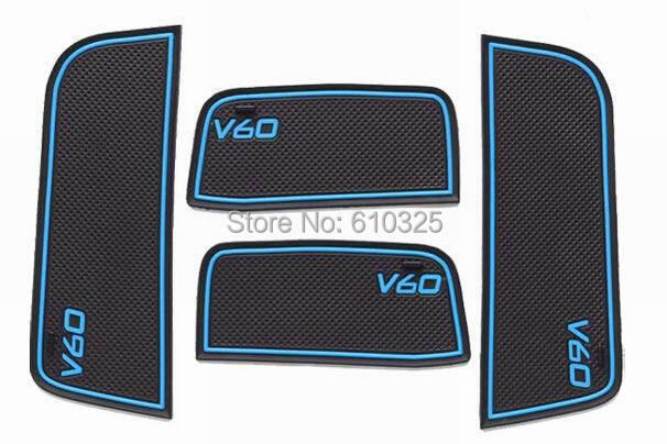 Car Blue Gate Slot Pad Cup Mat Armrest Storage Pad Anti-Slip Mat For VOLVO V60 Retail/Set Free Shipping