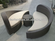 Round rattan daybed with rotatable footstool wicker furniture