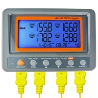 Portable/Wallmount Digital 4 Channel -328~2498 degree F/C K Type Thermocouple 2GB SD Card Temperature Thermometer Logger