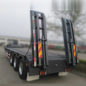 Heavy Duty Truck transportation 3 axle 100 ton Lowbed Semi Trailer Trucks And Trailers
