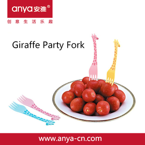 D708 Funny Cartoon Giraffe Design Cheap Plastic Kids' Party Dessert Fork