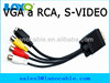 professional yellow rca male to vga s-video converter box cable