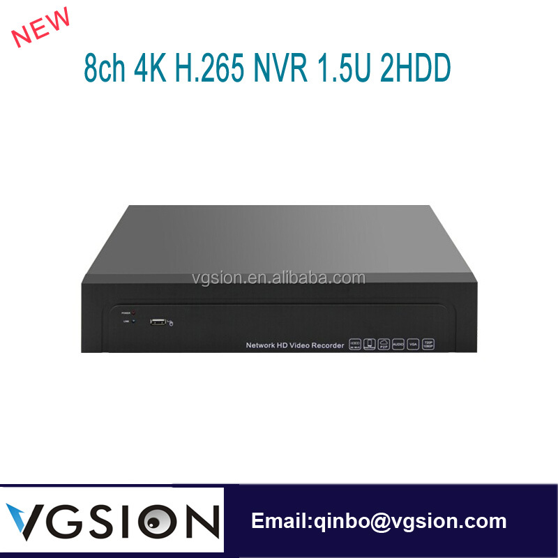 8ch Real 4K Standlone H.265 NVR Network DVR 1.5U 2HDD ONVIF 4k Ultra HD Video Camera IP Alarm Motion Detection Recorder