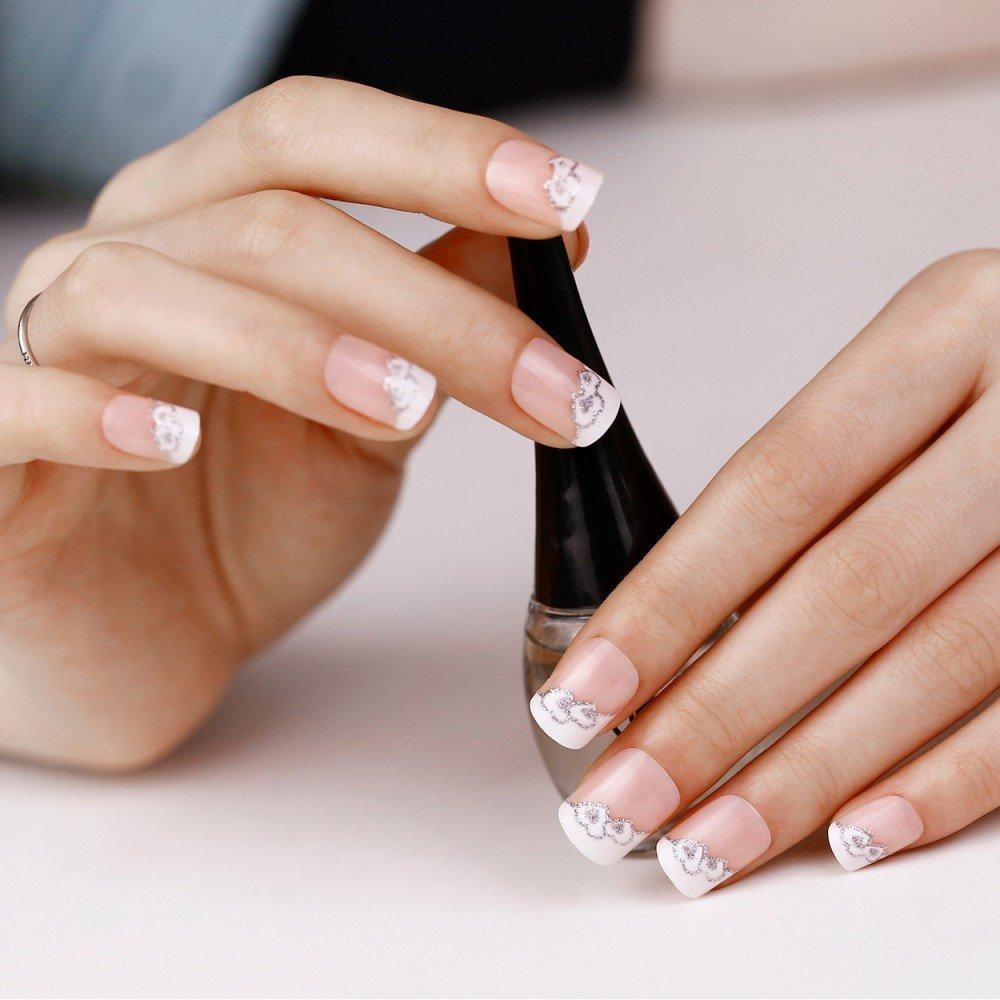 Buy DESIRE LTD 100 False Fake Nails Tips French Glitter Full Acrylic ...
