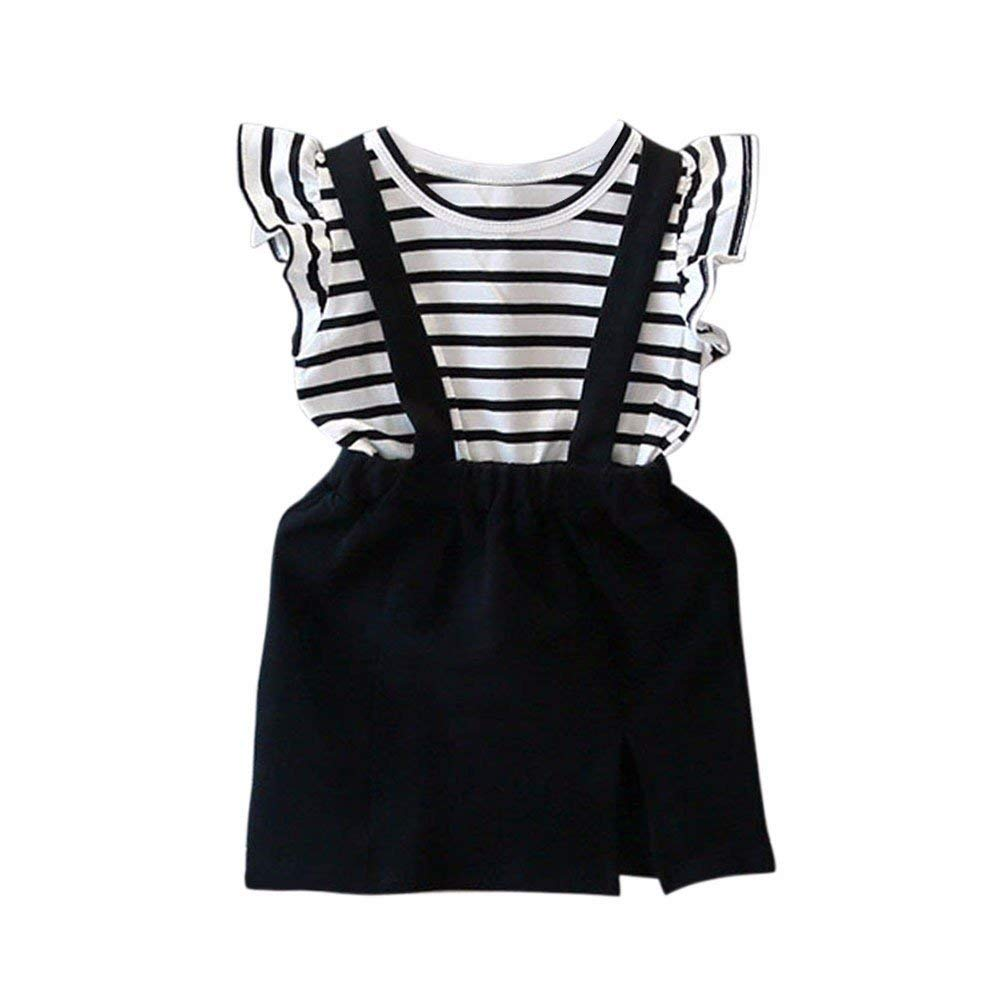 ❤️Mealeaf❤️ Baby Boys and Girls Clothes with Kids Baby Girls Summer Stripe Sleeveless Strap Dress A-line Dress Clothes (5-6 Years Old, Black)