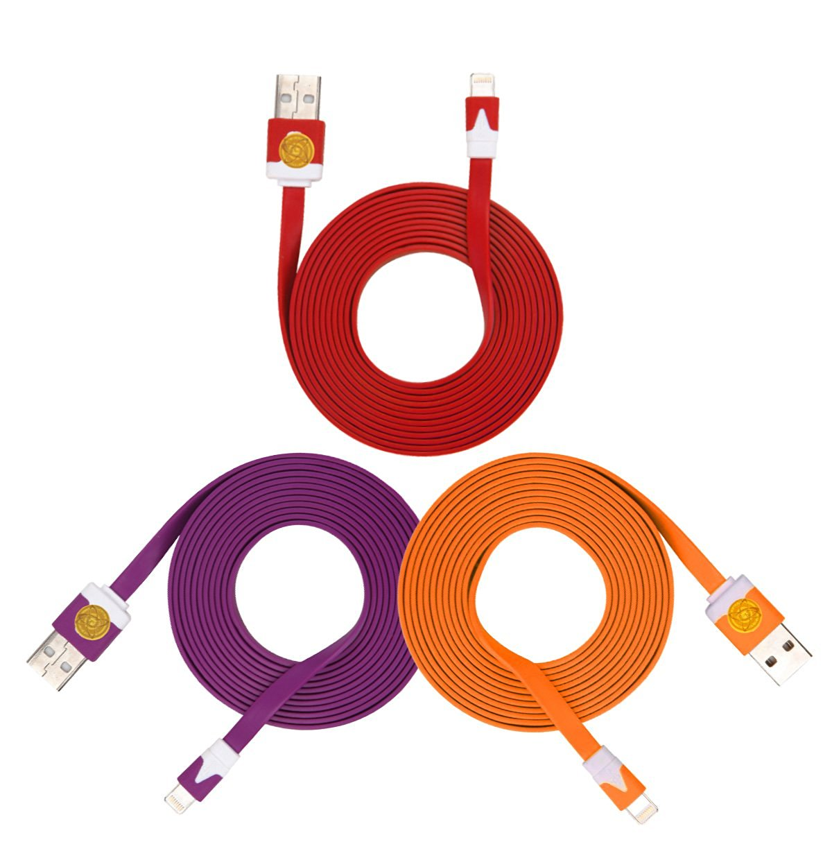2M Heavy Duty Flat Noodle Lightning USB Cable for Apple iPhone 6,6S -Ple Red Org