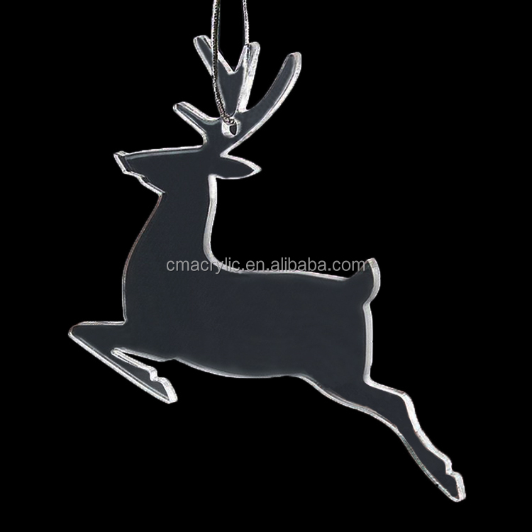 Reindeer Deer Shape Transparent Clear Acrylic Christmas Tree Decoration Xmas Tree Hanging Ornament