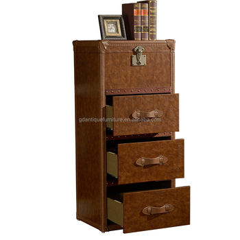 Vintage Style Storage Furniture Mango Wood Cabinet Chest With 3 Drawer