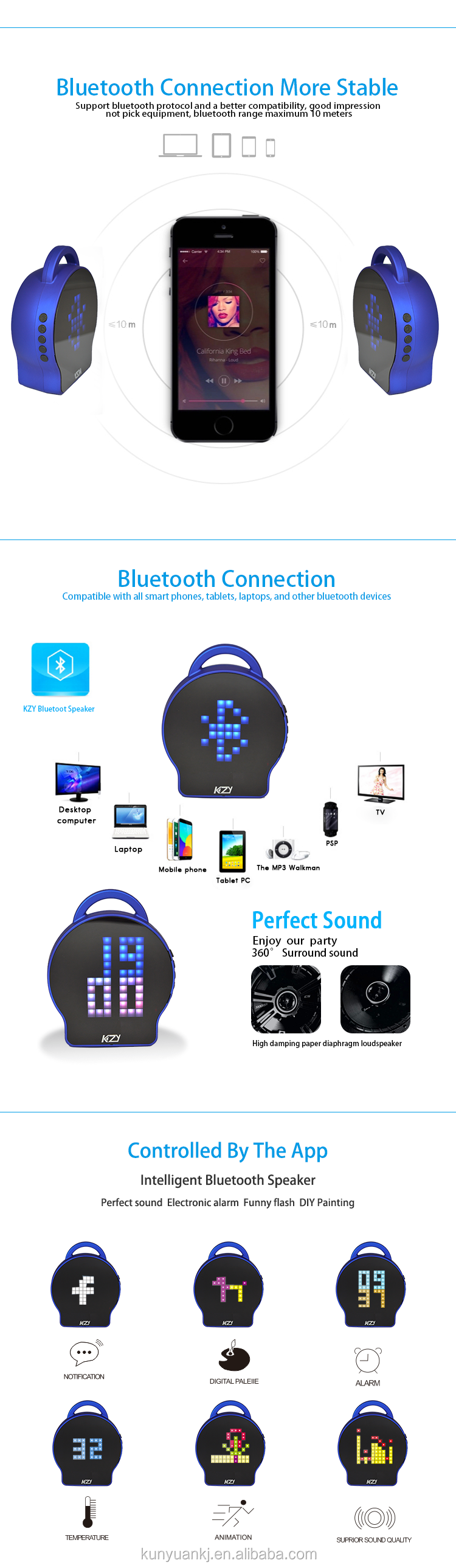 China Supplier multi function portable custom mini bluetooth speaker with app control