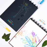 Elfinbook Sketch Creative Diy Washable Watercolor Water Doodle Book Water Drawing Board Birthday Return Gifts for Kids