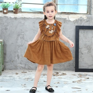 Wholesale children clothes striped denim cotton baby animal hand embroidery designs fashion baby dress new style for girls