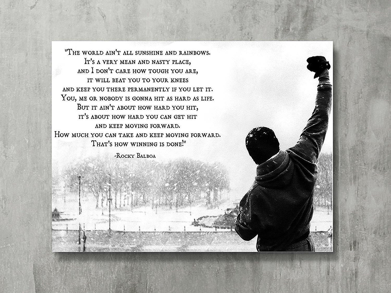 Buy Dawn Sky Rocky Balboa Motivational Quotes Art Silk