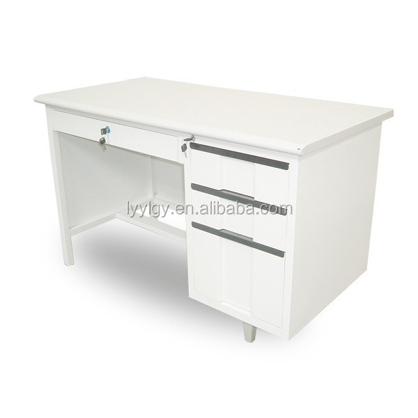 Perfect in shape and function metal office table/3-drawer white steel desk furniture