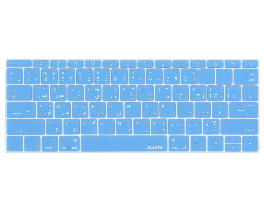 XSKN Arabic Language Keyboard Cover Silicone Skin for Macbook 12 Inch with Retina Display US Layout - Blue