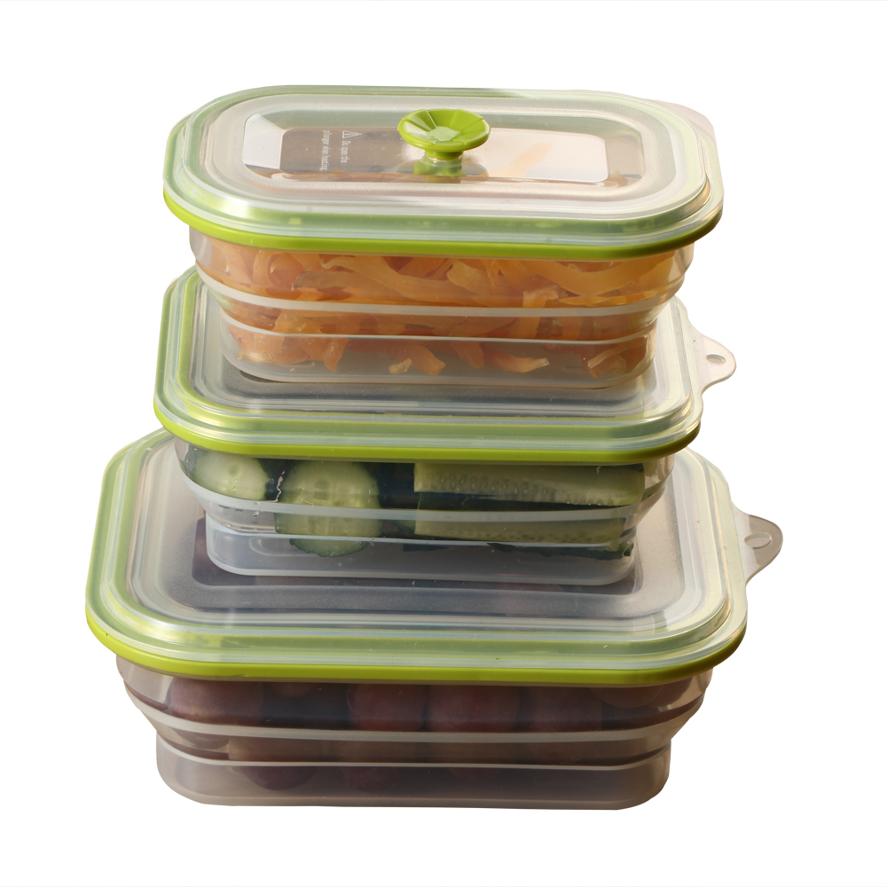 Buy Silicone 3 Pcs/set Rectangle Eco Friendly Food Container Vacuum Seal  Food Storage Box Food Foldable Organizer Bento Lunch Box In Cheap Price On  ...