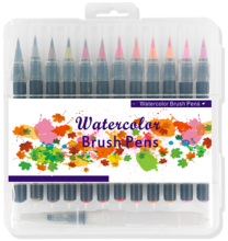 24 + 2 PP hard plastic Box pack Aquarel Borstel verf grafische Marker, soft Tip tekening Aquarel Brush Marker <span class=keywords><strong>Pen</strong></span> set