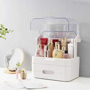 Portable travel clear cosmetic rotating acrylic makeup organizer