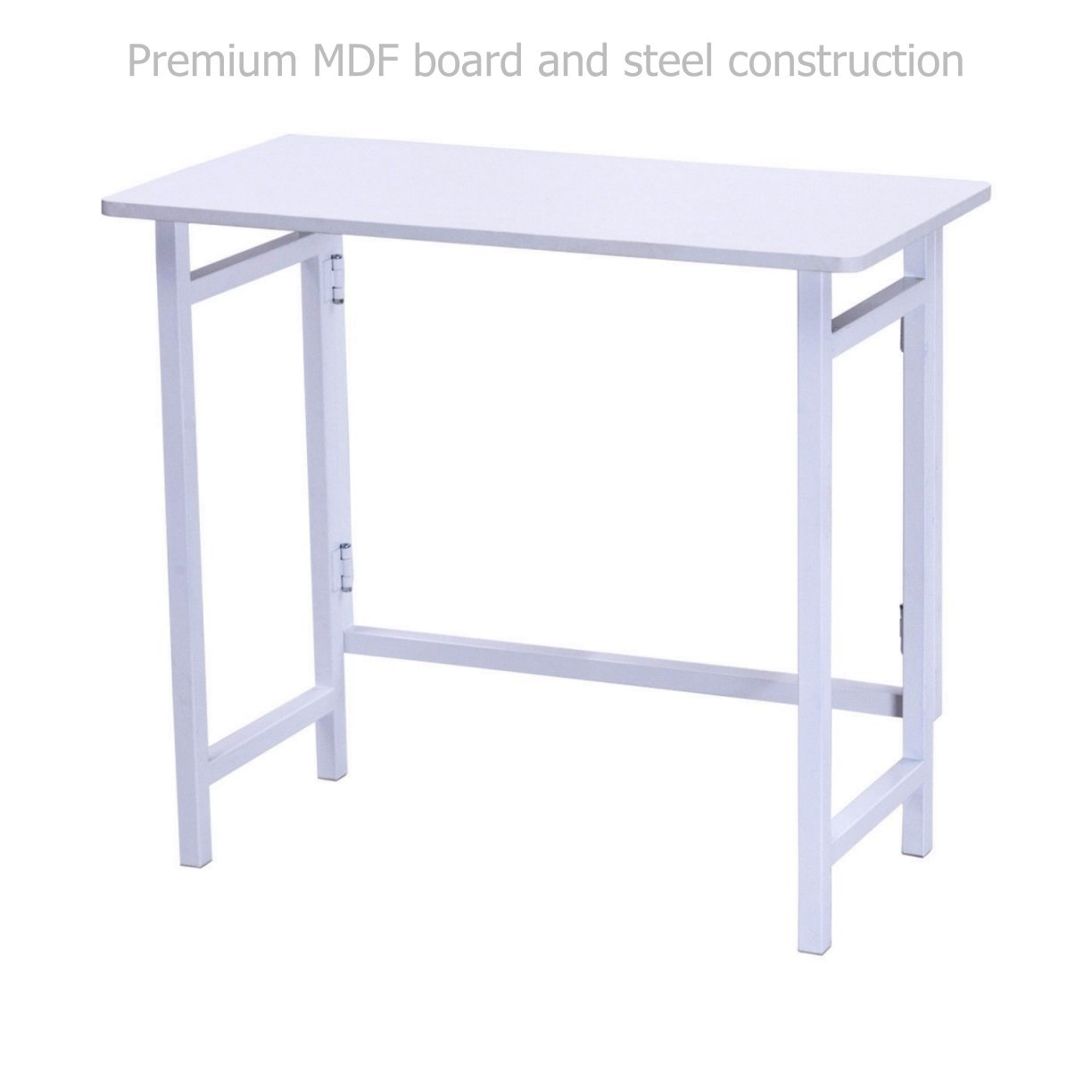 Modern Folding Table Laptop Computer Writing Multi-function Desk Durable MDF Board Powder Coated Steel Frame Home Office Furniture Decor #White1686