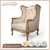 Rustic Traditional Antique Wing Armchairs Tufted back and carved Chairs for lounge