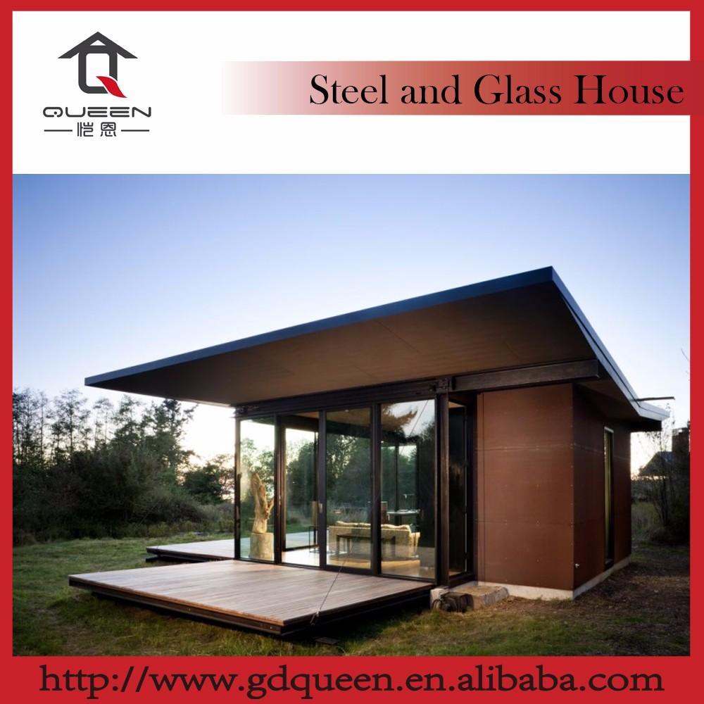 Peque a de acero de cristal moderna casas modulares - Casas modulares de acero ...