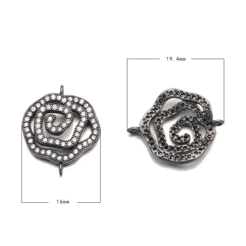 Good Quality Hollow Out Flower Gun Black Plated Pendant Pave Cubic Zircon White CZ Gemstone Connector Charm Jewelry For Women