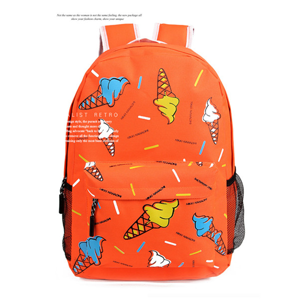 Ice cream print light weight student school bag for college students