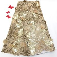 Latest gold sequins soft tulle lace fabric African beaded 3d flower lace embroidered fabric for women wedding party dress