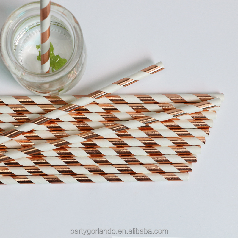 New Design Rose Gold Foil Stripe Paper Straw for wedding parties