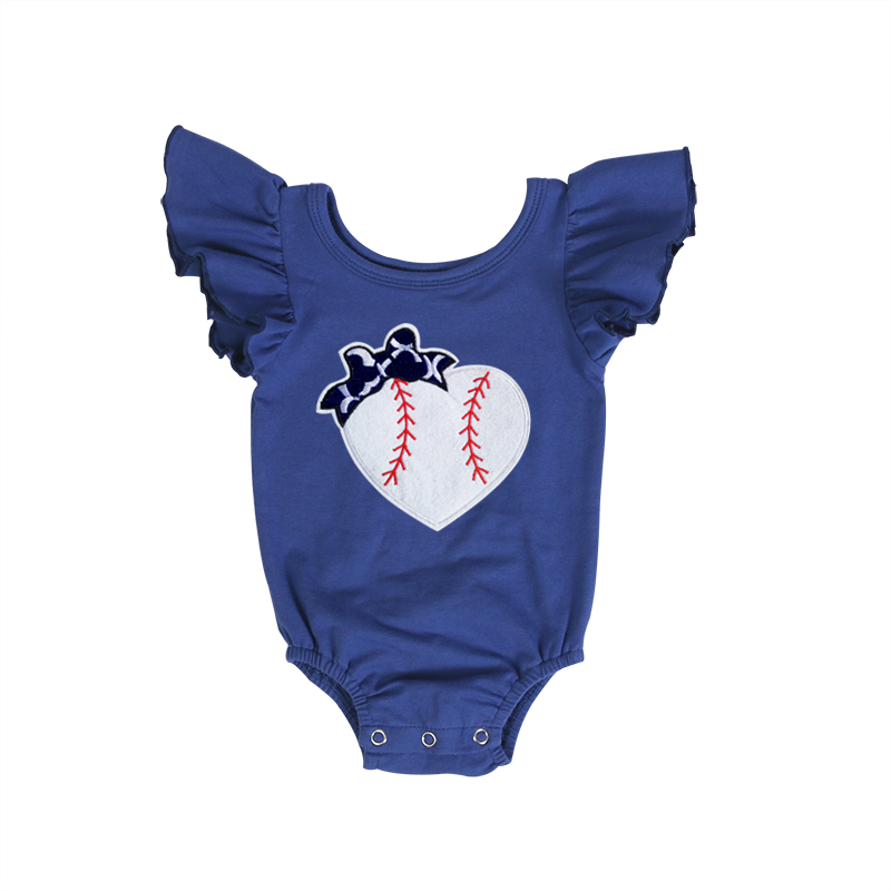 Wholesale Fashion Newborn Baby Sport Bodysuits Rompers Blue Cotton Rompers with Baseball